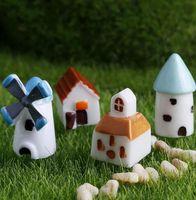 4 pezzi Holland House Room Building Modello di mulino a vento Piccola statua Mini Figurine Artigianato Ornamento Miniature DIY Home Deco