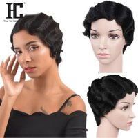 Short Lace Front Human Hair Wigs Brazilian Finger Wave Wig O...