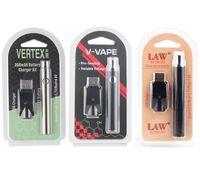 350 650 1100 mAh Pré-aquecimento VV Ajustar Volt Vape Pen Bateria Blister Package Kit Lei de Vértices V Vaper Electric Hookah Canetas