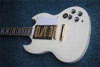 Wholesale SG Electric Guitar, 3 Pickup Guitar, White SG Guitar, Gold Herryware. Podemos fabricar de acuerdo a los requisitos del cliente.