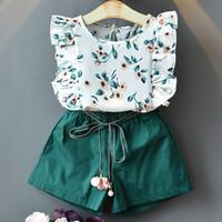 الاطفال ملابس الفتيات ملابس الأطفال الأزهار طباعة كشكش الأكمام قمم + شورت 2pcs / set ل2020 الصيف الحلو لطيف طفل الملابس مجموعات Z0360