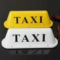 12V Taxi Magnetic Base Roof Top Cab LED Sign Light Lamp With Cigarette Lighter Yellow White Light