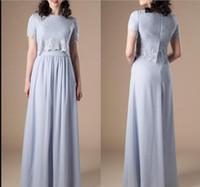 Azul Longo Modest A linha de dama de honra Vestidos com mangas curtas Lace Top Formal Evening vestidos de Boho casamento vestido de festa
