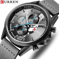 Sport Montre Homme Chronographe CURREN Bracelet Montres 2019 Cuir Mode bracelet à quartz Homme d'affaires Horloge Calendrier