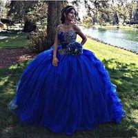 Royal Blue Off The Shoulder Tulle Abiti da ballo Abiti Quinceanera Pizzo Applique Strati Volant A terra Abiti da ballo Principessa