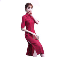 Elegant cheongsam traditional Chinese sexy dress cotton and ...