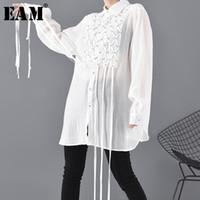 Frauen Blusen Hemden [EAM] Frauen Weiße Strass Quasten Große Größe Bluse-Revers Langarm Lose Fit Hemd Mode Frühling Herbst 2021 J
