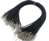 100pcs schwarze Lederschnur Wachs-Seil-Ketten-Halskette DIY PU 45CM + 5CM Halskette Schmuckherstellung Zubehör Großhandel Collares 1.5mm