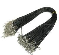 Am billigsten! Black 2.0mm Wachs Leder Schlange Halskette Perlenschnur Schnur Seildraht 45 cm Extender Kette Mit Karabinerfassung DIY Schmuck Machen