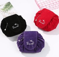 6 color Lazy cosmetic travel pouch corduroy soft drawstring ...