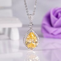 The new S925 silver necklace clavicle chain yellow crystal p...