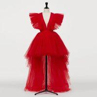 2020 Yeni Kırmızı Görüntü Sıcak Kırmızı Yüksek Düşük Tül Gelinlik Modelleri Derin V Yaka Uzun Tutu Balo Abiye Ruffles Örgün Parti Elbiseler 2020