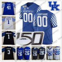 Benutzerdefinierte Kentucky Wildcats 2019 Jeder Name Nummer Blue Black White 1 Lynn Bowden Jr. 3 Terry Wilson 56 Kash Daniel NCAA 150th Jersey