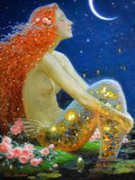 ديكور المنزل الفن الخيال خمر حورية البحر النفط الطلاء صورة مطبوعة على قماش لغرفة الجلوس فن الزينة