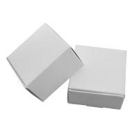 50 pçs / lote 5.8 * 5.8 * 3.2 cm Caixa de Presente de Papel Branco Boutiques de Doces Caixa de Armazenamento de Decoração Do Partido Caixa de Papelão Kraft Caixa de Papelão de Jóias Caixas de Pacote