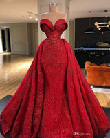 Splendidi abiti da sera a sirena rossa con treno staccabile 2021 Sweetheart Prom Dress Abiti da sera formale Abiti da sera Robe de Soiree Abendkleider