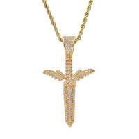 Angel Sword Pendant Necklace Placcato in oro Rame intarsiato Cubic Zirconia Pendant 60cm Catena in acciaio inossidabile Accessori uomo