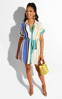 Colorful Striped Womens Summer Shirt Dress Button Designer S...