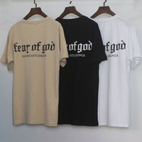 Fear Of God FOG T-Shirt Uomo Donna Cotton Casual Shirt Justin Bieber Hip Hop Street Top manica corta Lettera Stampa Tee Khaki MQI0303