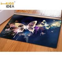 Patrón HUGSIDEA 3D mariposa de la belleza de la alfombra manta de área de Inicio Sitio vivo Dormitorio Cocina Soft Alfombras Alfombras Alfombras de salón