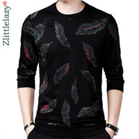 2019 дизайнер пуловеры пера мужчин свитер платье тонкий трикотаж вязаные свитера мужская одежда пригонки трикотаж моды одежды 41241 V191028