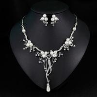Kristall Halskette Ohrringe Sets Sets für Hochzeit Braut Silber Überzogene Strass Perle Modeschmuck Set Trend Schmuck Für Frauen Mädchen Dame