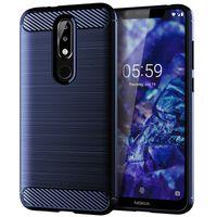 TPU borracha Full-corpo de proteção tampa do telefone da fibra do carbono tampa da caixa de telefone para Nokia X5 caso capa à prova de choque Bumper