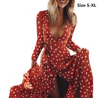 Kadınlar elbise Boho Seksi V Yaka Polka Dot Baskılı Uzun Kollu Plaj Partisi Uzun Maxi Elbise Sundress vestidos femininos elbise boyut S-XL