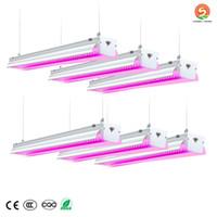 US-aktier + LED växer ljus 64W 4ft T20 Full spektrum U-form med reflektor Combo, länkbar design växtljus för inomhus växter