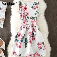 Fenghua Summer Dress Women 2019 Casual Plus size senza maniche A Line Dress Elegante Sexy stampa floreale Mini Party Dress femminile 5XL Y190117
