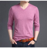 V Neck Mens Knitted T Shirts Spring Auttumn Men Designer Shi...