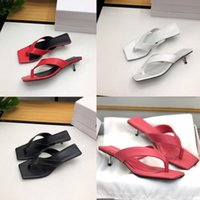 Luxury new designer woman slippers square head flip flops Me...