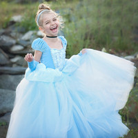 2021 Halloween Theme Traje Azul Princesa Princesa Vestido Crianças Jogar Fase Performance Skirt 110 a 150cm