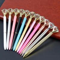 Caneta esferográfica caneta esferográfica criativo Cristal Big Gem Com grande diamante jóia caneta esferográfica escola Office Supplies YYA12