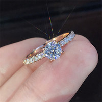 Rose gold diamond ring Crystal engagement rings for women jewelry women rings wedding rings sets fashion jewelry 080518