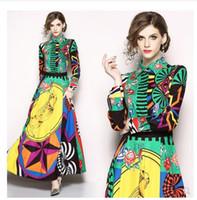 유럽 패션 디자인 칼라 긴 소매 컬러 블록 기하학적 프린트 꽃 높은 허리 맥시 아래 2020 새로운 여성의 차례가 긴 SMLXLXXL 드레스