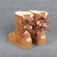 Venda quente New Wgg Mulheres Clássicas Botas Botas de Azulejo Botas Pretas Castanhas Castanhas Azul Azul Mulheres Menina Bow Boot Botas Tamanho 5-13