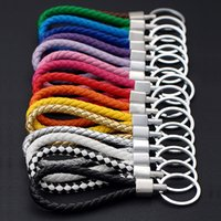 Key Rings Many colors PU Leather Braided Woven Rope bts keyc...