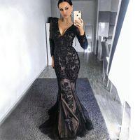 Robes de soirée de sirène noire classique Col V cou, manches longues à manches longues à la manche de célébrité paillettes Sweep train robe formelle Plus Taille