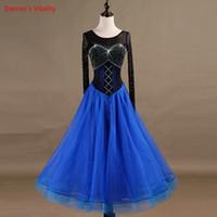 Etapa Desgaste 2021 Estilo Costumidor de baile latino Malla + Piedras Vestido para mujeres Vestidos de competición de salón de baile 2xs-6xl