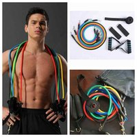 US-Stock-11 PC / Satz Outdoor Sports Latex-Widerstand-Bänder-Trainings-Übungs Pilates Yoga Crossfit Fitness Tubes Pull Rope