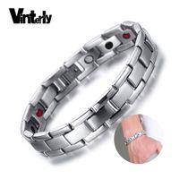 Vinterly Cura pulseira masculina Magnetic Germânio Aço Inoxidável Homens da mão Cadeia Holograma Pulseiras para homens Jóias