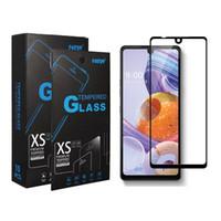 Tela preta Borda completa Tampa de vidro temperado Protector para LG Stylo 6 5 K51 Aristo5 Samsung A01 A21 moto e 2020, com pacote
