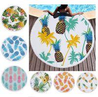 الأناناس شاطئ منشفة الفواكه النباتات الأزهار المطبوعة جولة شاطئ بطانية المرأة شرابات حمام منشفة المنزل السرير أريكة الحصير منصات السجاد A6403
