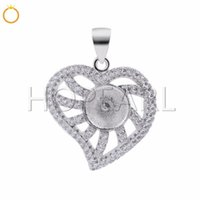 DIY Jewelry Gift 925 Sterling Silver Heart Pendant Pave Cubi...