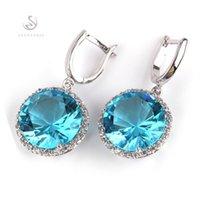 Shunxunze kostspielige Berserk-Engagement-Hochzeits-Ohrringe für Damenbekleidung-Accessoires Dropshipping Blue Cubic Zirkonia rhodiniert R749