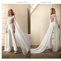 2020 Wedding Dress Jumpsuits With Wrap Jewel Neck Floral App...