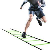 Entrega rápida 5M 10Rung Nylon Formación correas Escaleras Escaleras de la agilidad del fútbol del fútbol Tab velocidad Escalera Deportes Fitness Equipment
