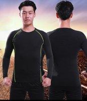 on-line de esportes de secagem rápida collants camisa base de treinamento de futebol dos homens de manga longa correndo terno Yoga aptidão respirável fato de treino de futebol