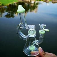 Уникальные стеклянные бонги свечения в темном шарике стакан бонг стекла водные трубы мини-нефтяной буровой установки зеленые фиолетовые установки с миской XL-341